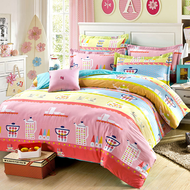 pretty tea cup themed bedding set in blue and pink ebeddingsets. Black Bedroom Furniture Sets. Home Design Ideas
