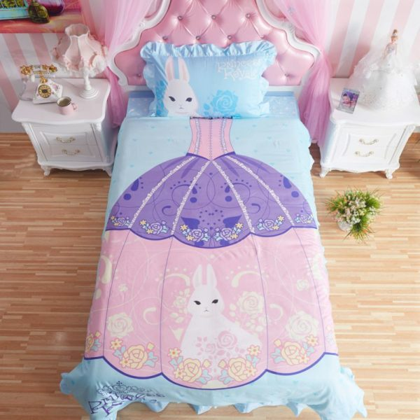 Princess Rivals Teenage Girls Blue Bed Set - twin-bedding, Without Comforter