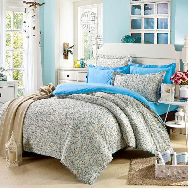 Refreshing Light Blue Floral Cotton Bedding Set 1