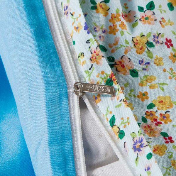 Refreshing Light Blue Floral Cotton Bedding Set 3