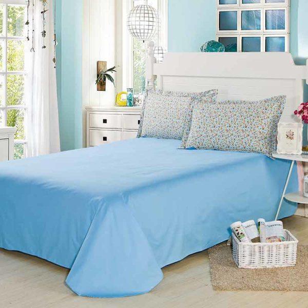Refreshing Light Blue Floral Cotton Bedding Set 5