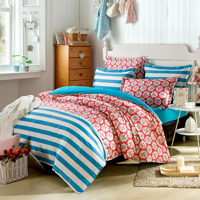 Royal Blue And Red Flower Cotton Bedding Set Ebeddingsets
