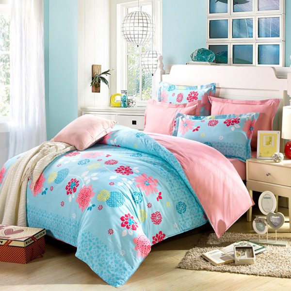 Soothing Light Teal And Pink Cotton Bedding Set 1 600x600 - Soothing Light Teal And Pink Cotton  Bedding Set