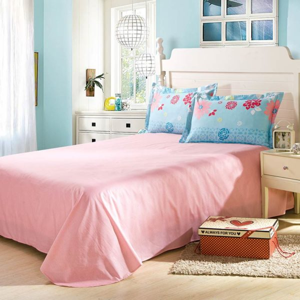 Soothing Light Teal And Pink Cotton Bedding Set 3 600x600 - Soothing Light Teal And Pink Cotton  Bedding Set