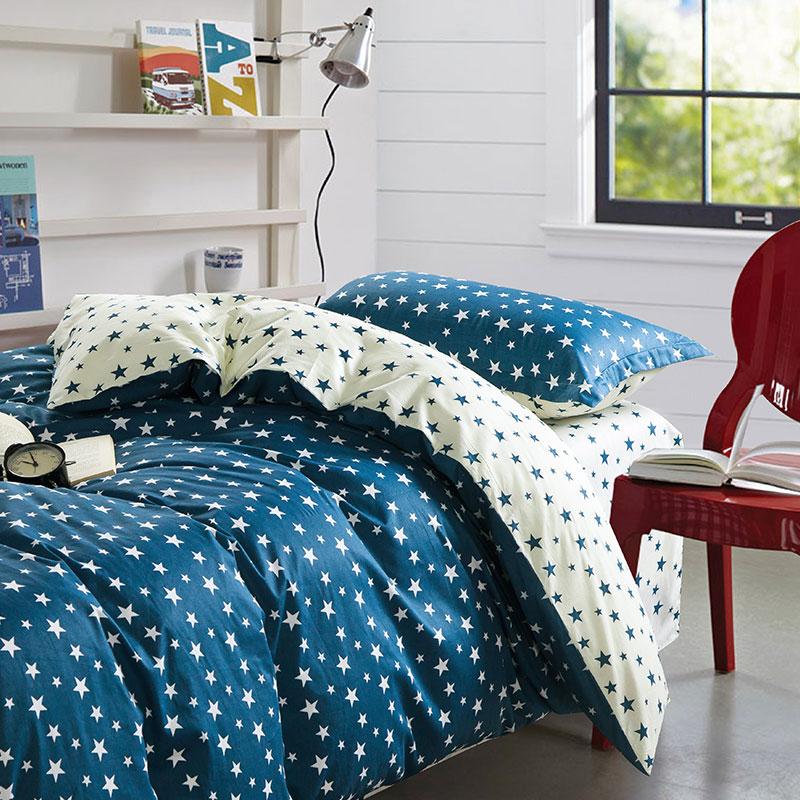 Stylish Stars Blue And White Cotton Bedding Set Ebeddingsets