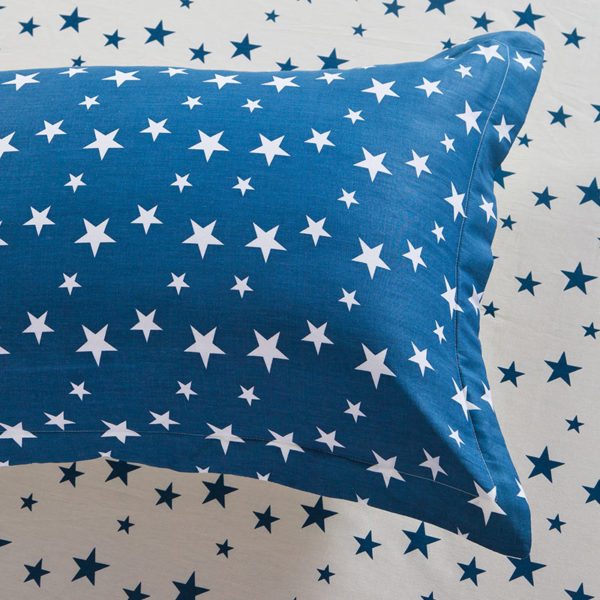 Stylish Stars Blue and White Cotton Bedding Set 2 600x600 - Stylish Stars Blue and White Cotton Bedding Set