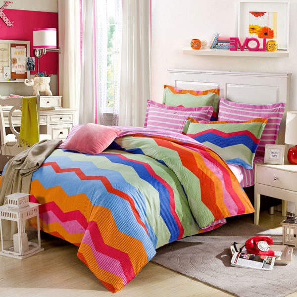 Stylish Zigzag Patterned Cotton Bedding Set 1