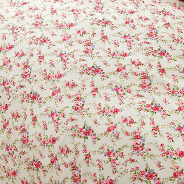 Subtle White And Pink Floral Cotton Bedding Set 2 600x600 - Subtle White And Pink Floral Cotton  Bedding Set