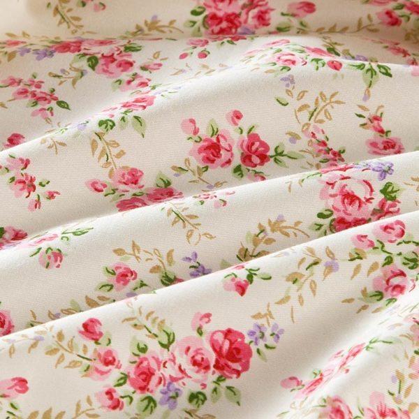 Subtle White And Pink Floral Cotton Bedding Set 4 600x600 - Subtle White And Pink Floral Cotton  Bedding Set