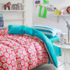 Sultry Red and Blue Floral Cotton Bedding Set 1