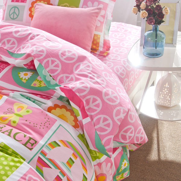 Vibrant and vivid PEACE Cotton Bedding Set 2