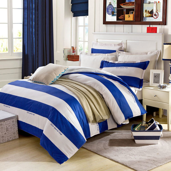White And Blue Strips Cotton Bedding Set 2