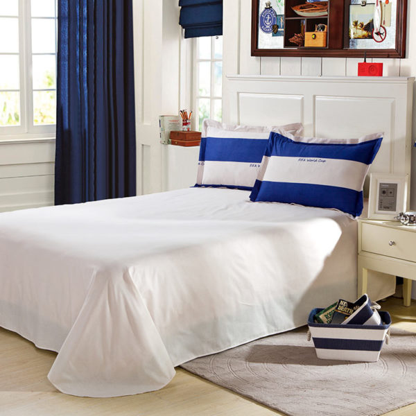White And Blue Strips Cotton Bedding Set 5