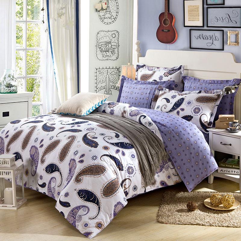 White And Navy Blue Paisley Cotton Bedding Set Ebeddingsets