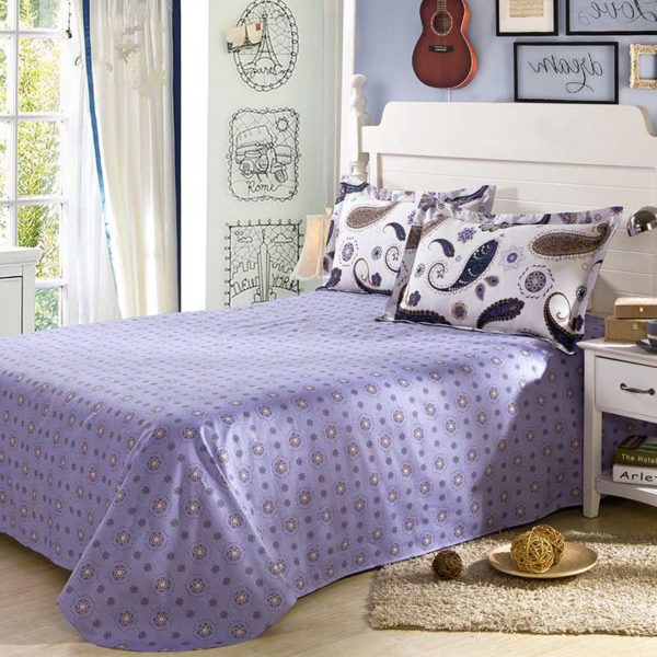 White And Navy Blue Paisley Cotton Bedding Set 3
