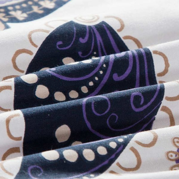 White And Navy Blue Paisley Cotton Bedding Set 5