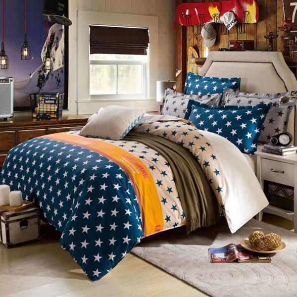 Wonderful White And Navy Blue Cotton  Bedding Set