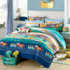 colorful Train Themed Cotton Bedding Set 1