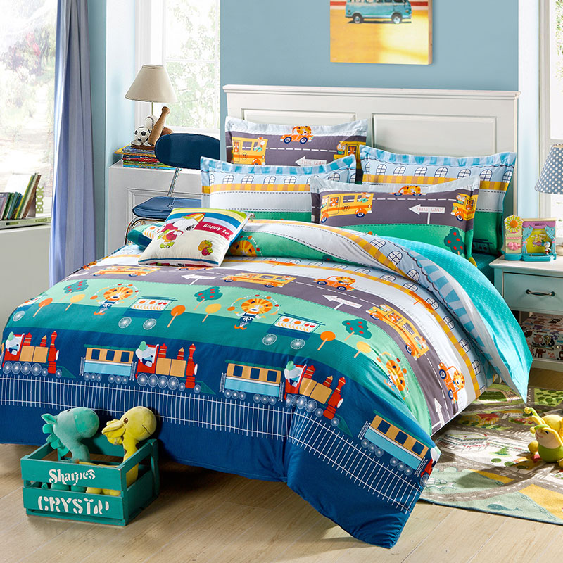 Colorful Train Themed Cotton Bedding Set Ebeddingsets