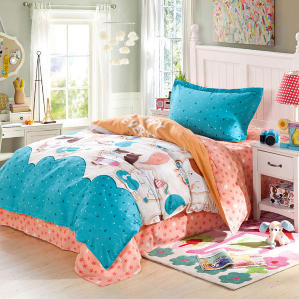 Adorable Light Blue and Orange Cotton Bedding Set 1 600x600 - Adorable Light Blue and Orange Cotton  Bedding Set