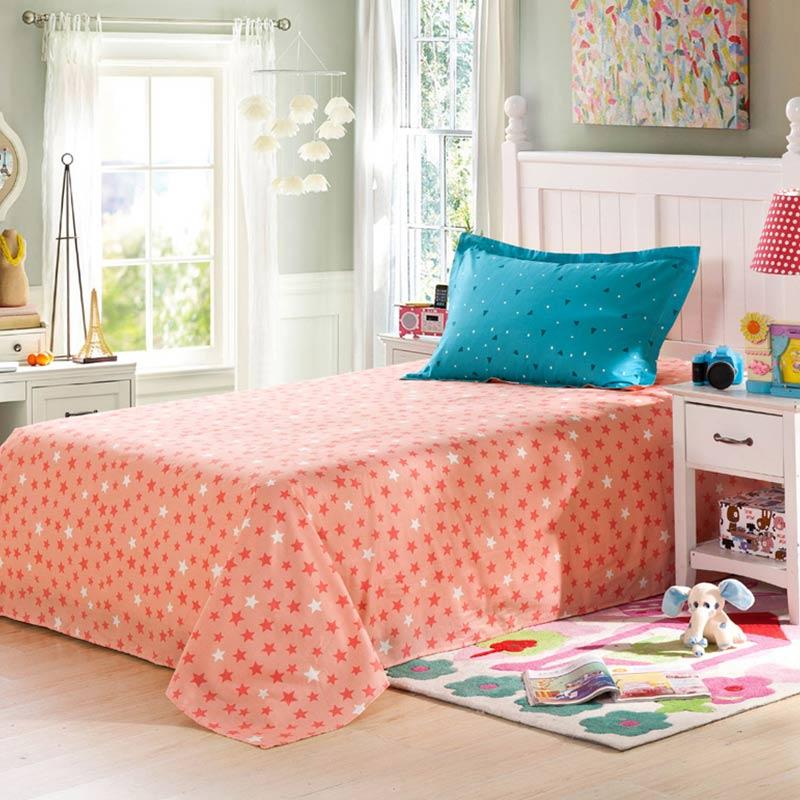 Adorable Light Blue And Orange Cotton Bedding Set EBeddingSets