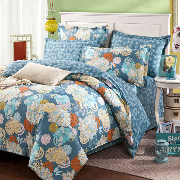 Amazing Flower Print Cotton Bedding Set In Blue 1 600x600 - Amazing Flower Print Cotton Bedding Set In Blue
