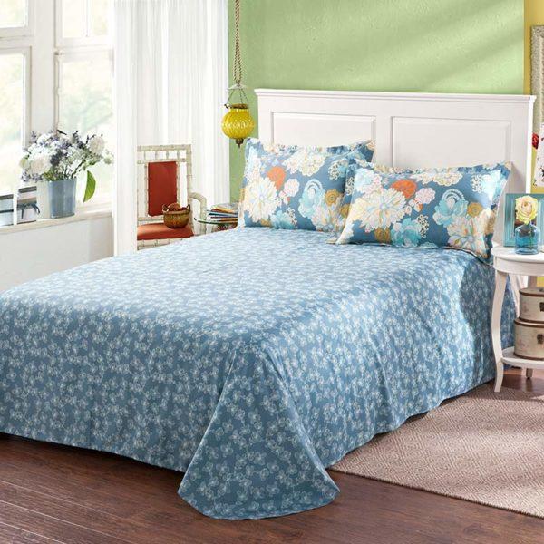 Amazing Flower Print Cotton Bedding Set In Blue 3 600x600 - Amazing Flower Print Cotton Bedding Set In Blue