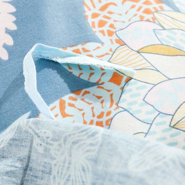 Amazing Flower Print Cotton Bedding Set In Blue 4 600x600 - Amazing Flower Print Cotton Bedding Set In Blue