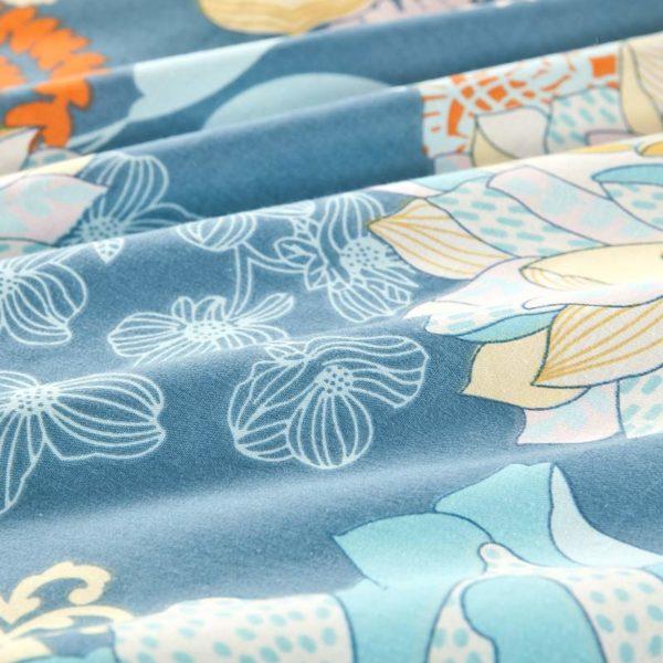Amazing Flower Print Cotton Bedding Set In Blue 5 600x600 - Amazing Flower Print Cotton Bedding Set In Blue