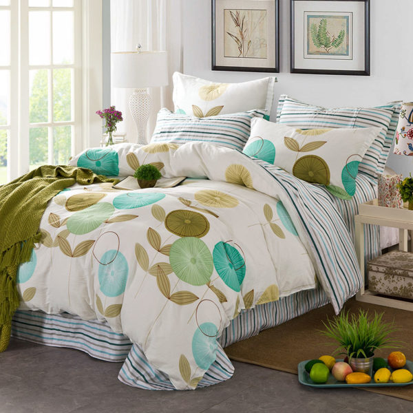Amazing Flowers And Stripes Cotton Bedding Set 1 600x600 - Amazing Flowers And Stripes Cotton  Bedding Set