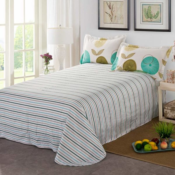 Amazing Flowers And Stripes Cotton Bedding Set 5 600x600 - Amazing Flowers And Stripes Cotton  Bedding Set