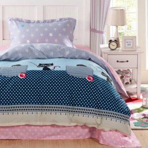 Attractive Blue and Black Cat Print Cotton Bedding Set 1 300x300 - Attractive Blue and Black Cat Print Cotton  Bedding Set