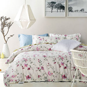 Attractive White and Light Blue Floral Print Cotton Bedding Set 1 300x300 - Attractive White and Light Blue Floral Print Cotton  Bedding Set