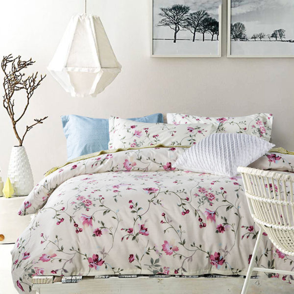 Attractive White and Light Blue Floral Print Cotton  Bedding Set