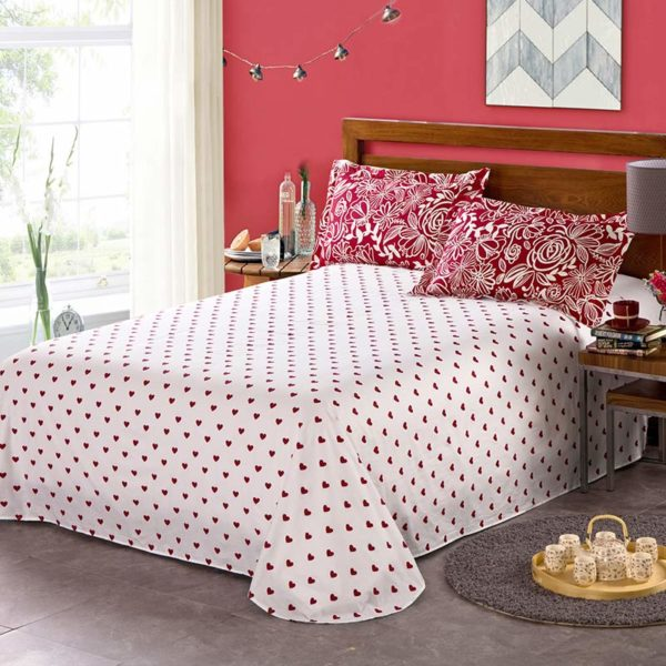 Bright Maroon Floral Cotton Bedding Set 4 600x600 - Bright Maroon Floral Cotton Bedding Set