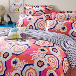 Bright Orange Floral Cotton Bedding Set 1 300x300 - Bright Orange Floral Cotton  Bedding Set
