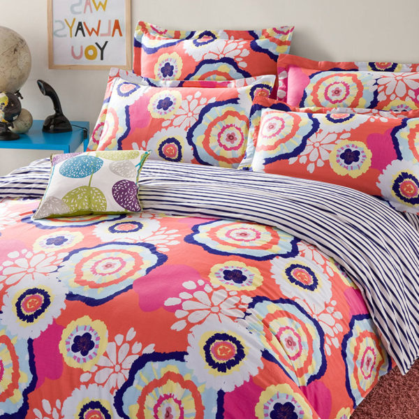 Bright Orange Floral Cotton Bedding Set 1 600x600 - Bright Orange Floral Cotton  Bedding Set