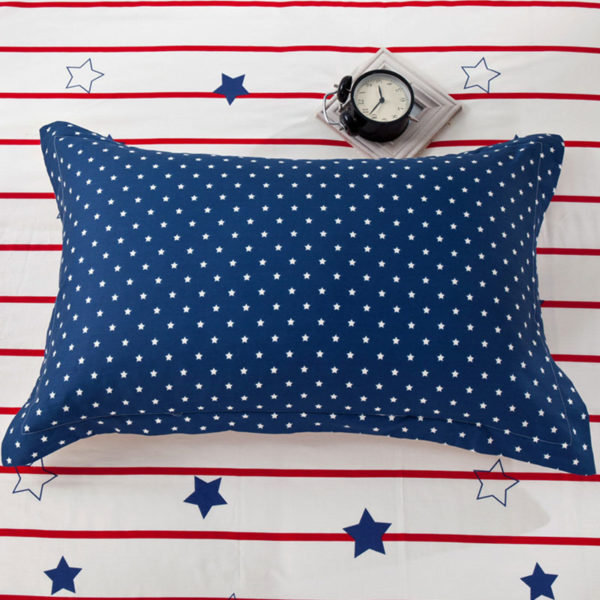 Charming Blue and White Star Pattern Cotton Bedding Set 4