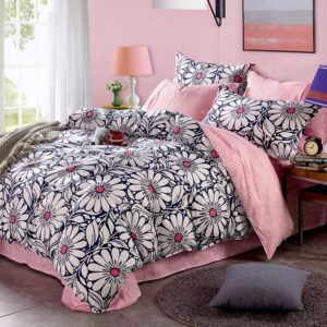 Charming Light Pink And Black Floral Cotton Bedding Set 1 300x300 - Charming Light Pink And Black  Floral Cotton Bedding Set