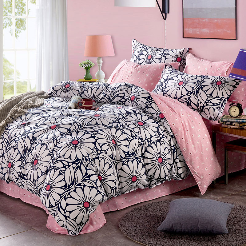 charming light pink and black floral cotton bedding set 19050 | charming light pink and black floral cotton bedding set 1