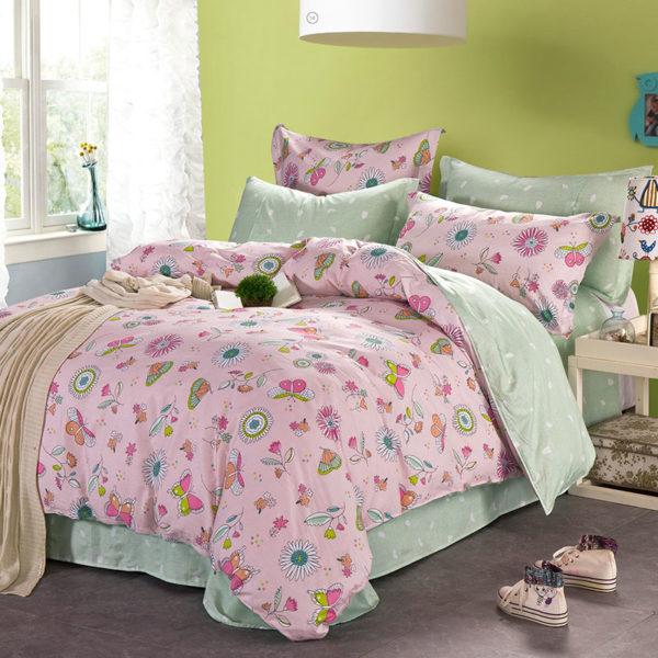 Charming Light Pink Cotton Bedding Set 1