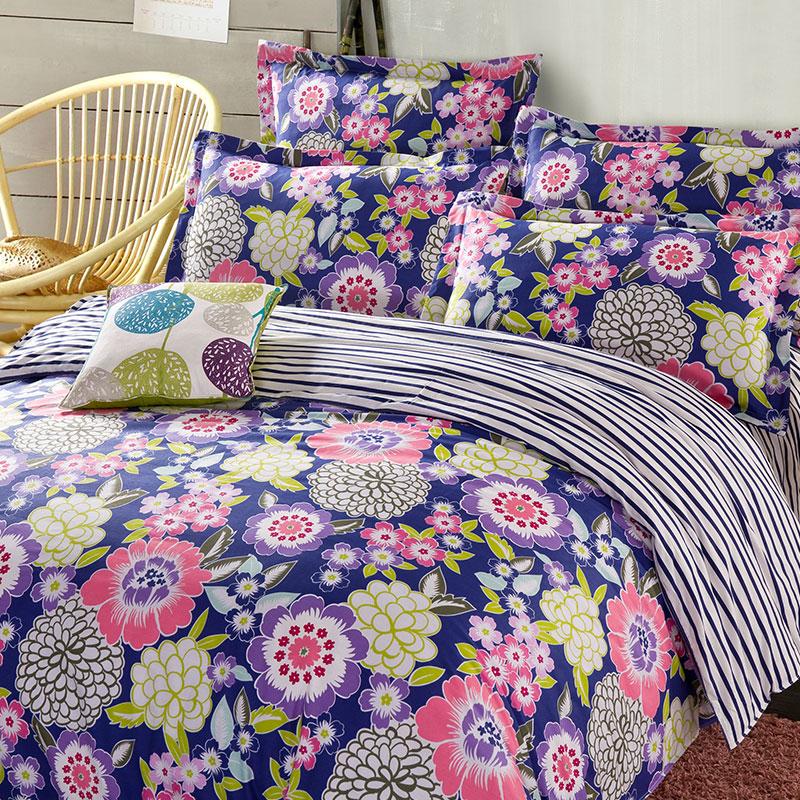 Charming Navy Blue Floral Cotton Bedding Set Ebeddingsets