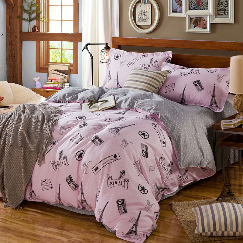 Charming Paris Themed Cotton Bedding Set