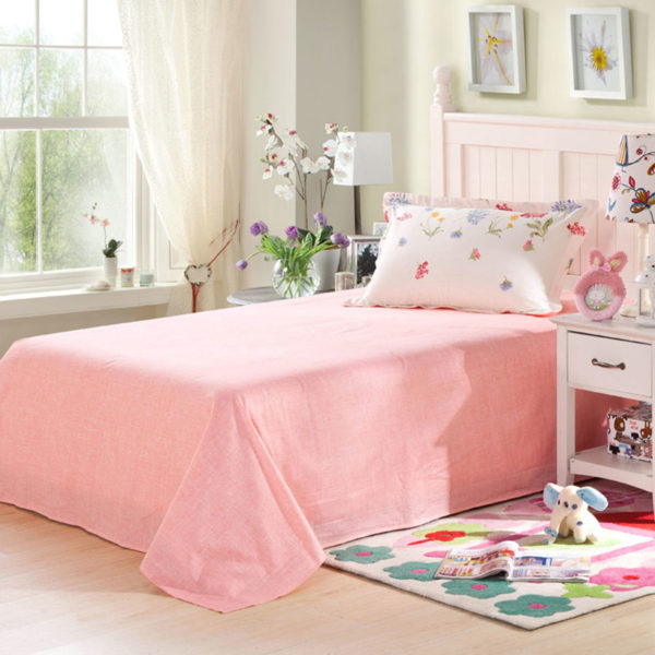 Charming White and Pink Floral Cotton Bedding Set 3