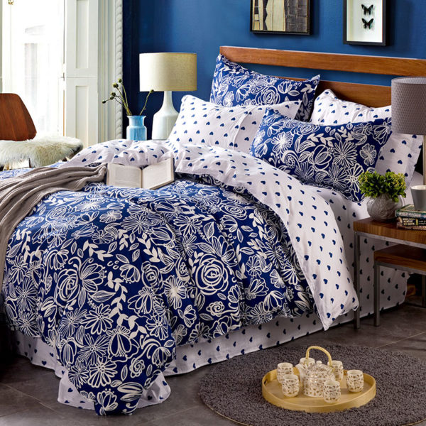 Chic Blue Hearts And Flowers Cotton Bedding Set 1 600x600 - Chic Blue Hearts And Flowers  Cotton Bedding Set