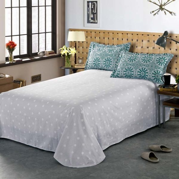 Chic Bottle Green And steel Grey  Cotton  Bedding Set