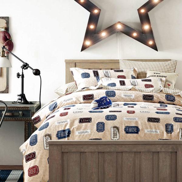 Classic Beige And Blue Cotton Bedding Set 1 600x600 - Classic Beige And Blue Cotton  Bedding Set