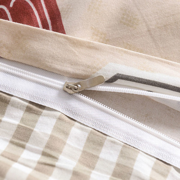 Classic Beige And Blue Cotton  Bedding Set