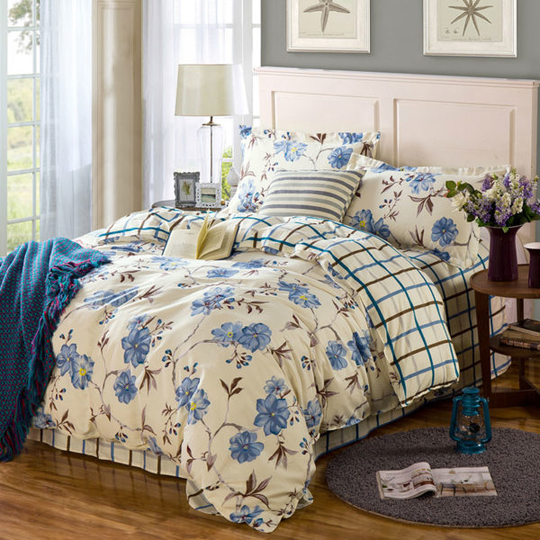 Classy Floral Cotton Bedding Set 1 600x600 - Classy Floral Cotton Bedding Set