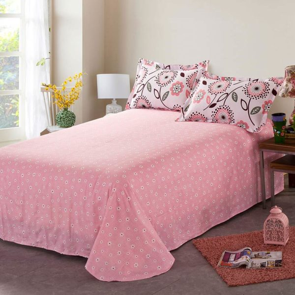 Comfortable Pink Floral Cotton Bedding Set 4 600x600 - Comfortable Pink Floral Cotton  Bedding Set